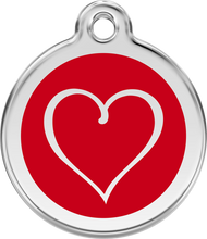 Red Dingo Stainless Steel and Enamel Pet ID Tag - Tribal Heart