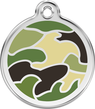 Red Dingo Stainless Steel and Enamel Pet ID Tag - Camouflage
