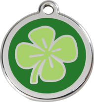 Red Dingo Stainless Steel and Enamel Pet ID Tag - Clover