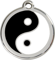 Red Dingo Stainless Steel and Enamel Pet ID Tag - Ying Yang