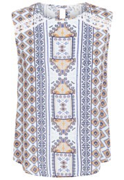 Tribal Sleeveless Blouse w/Lace Detail 6213O