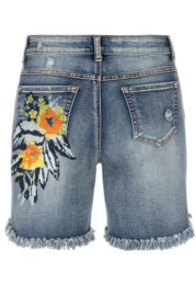 Tribal Printed Denim Short w/Raw Edge 6211O
