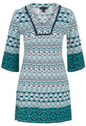 Tribal 3/4 Bell Sleeve Border Dress 3499O-2725