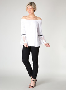 Yest Soft Tropical Off the Shoulder Lace Sleeve Top 31103