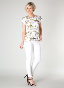 Yest Soft Tropical Palm Print Top 31041