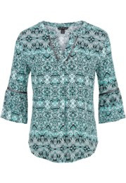 Tribal 3/4 Sleeve Blouse w/Fagoting Tape 3372O -Size S, M