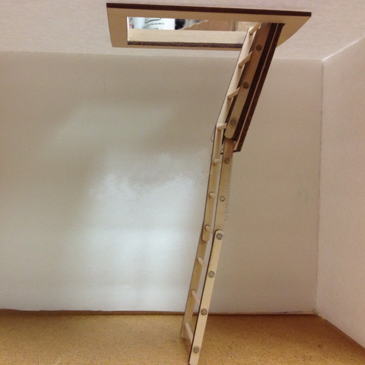 Dollhouse Miniature Attic Stairs with Pull Chain 1:12 Scale
