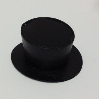 Dollhouse Miniature Real Leather Black Top Hat by Prestige Leather