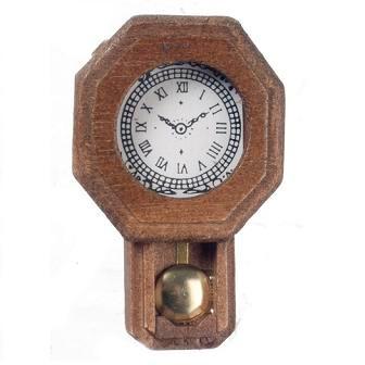 One-inch (1:12) Scale Dollhouse Miniature Walnut Railroad Clock (IM65420)