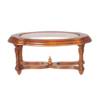 Oval coffee table with plexiglas insert