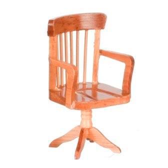 One-inch (1:12) Scale Dollhouse Miniature Oak Desk Chair (AZT4278)