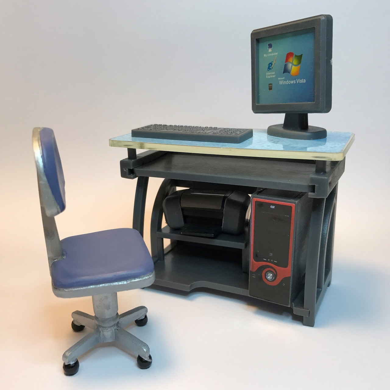 Modern Computer Desk Chair Jeepers Dollhouse Miniatures
