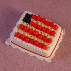 Dollhouse Miniature 4th of July Patriotic Flag Sheet Cake Desser Food A3646