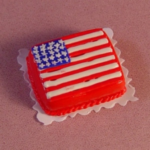 Dollhouse Miniature 4th of July Patriotic Flag Sheet Cake Desser Food A3646
