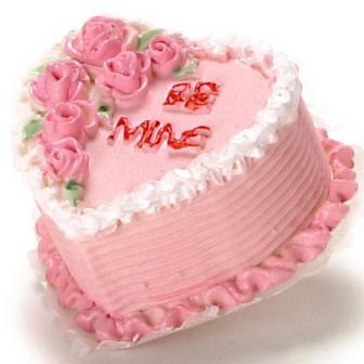 """Be mine"" Valentine heart shaped layer cake."