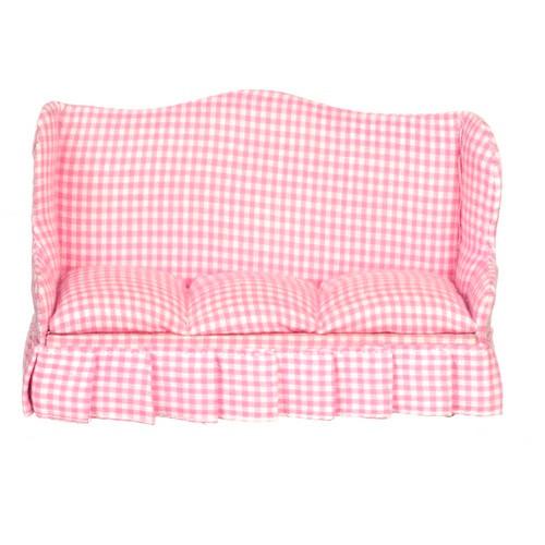 Pink check sofa