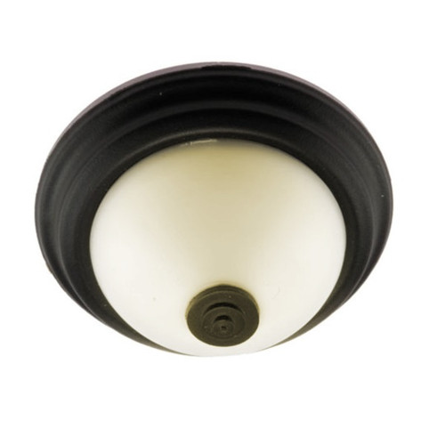 Flush mount ceiling light with frosted shade and black trim.