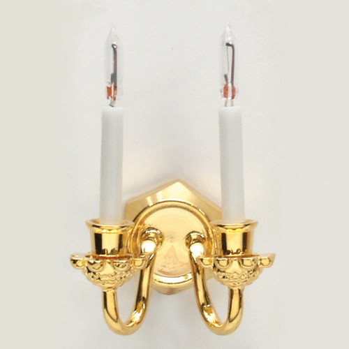 Brass double candle wall sconce