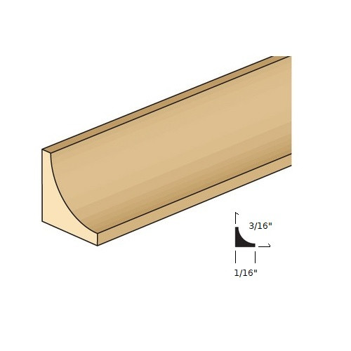 """Illustration of 1/8"""" wide cove molding with cross section"""