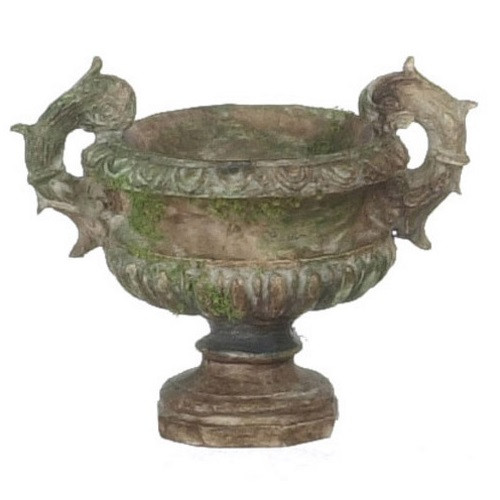 Image of aged brown urn with moss
