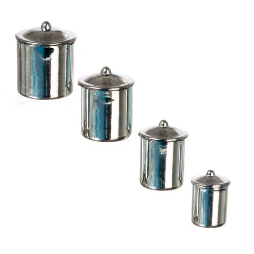 """Four-piece stainless steel """"look"""" canister set"""