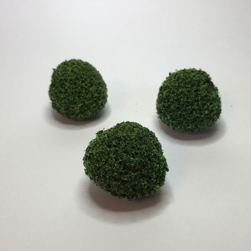 "Image of three 1"" tall green bushes/mounds for dollhouse landscaping"