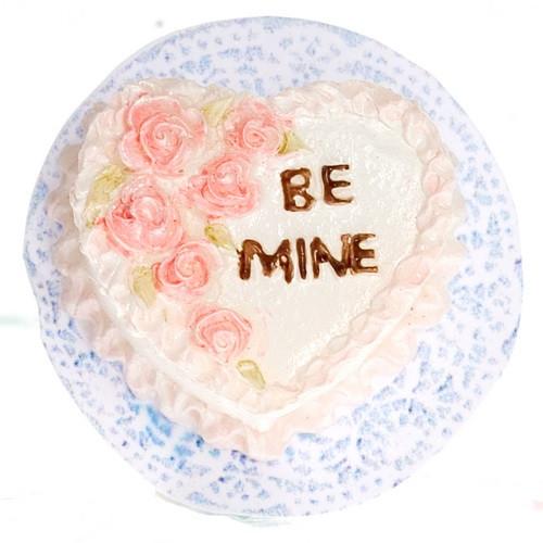 """Dollhouse Miniature Heart Shaped """"be mine"""" Cake (A3667)"""