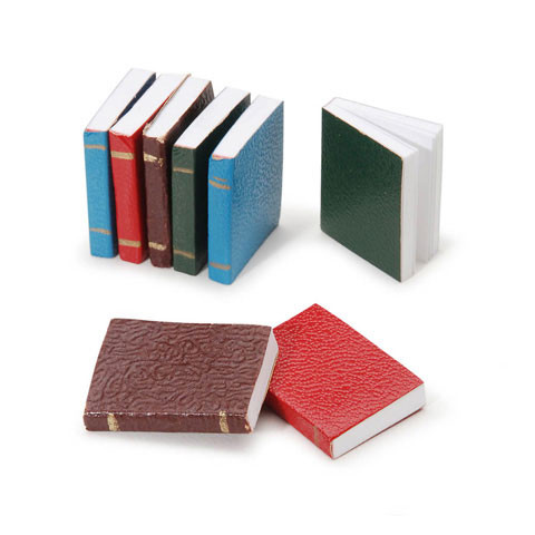 Set of eight miniature books with blank white pages