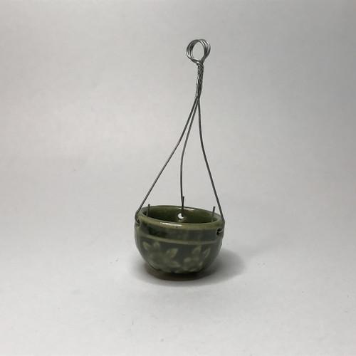 Green glazed hanging flower pot