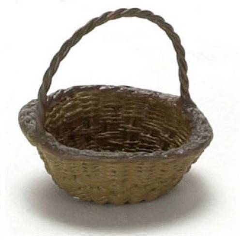 Dollhouse miniature resin basket with carrying handle