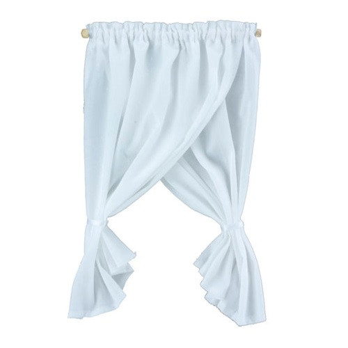 White tie back swag curtain set