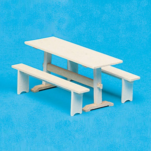 Miniature trestle table and benches (kit)
