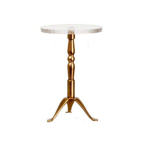 Dollhouse miniature brass and glass end table