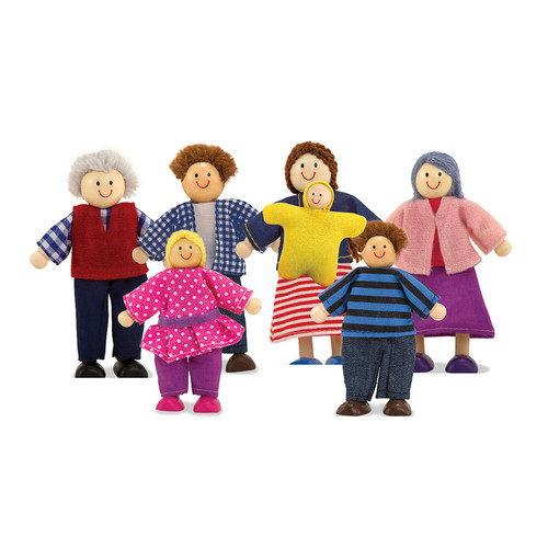 Wooden dolls house family