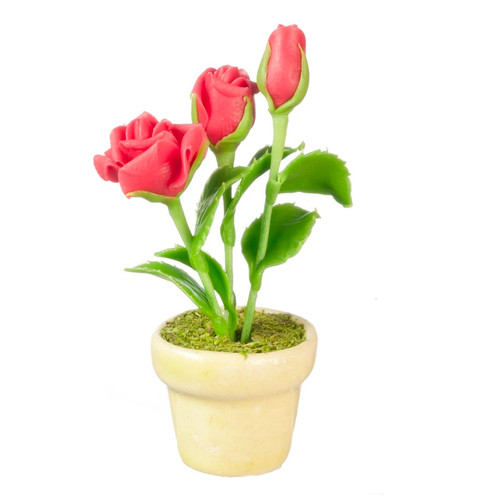 Dollhouse miniature red roses in ceramic pot