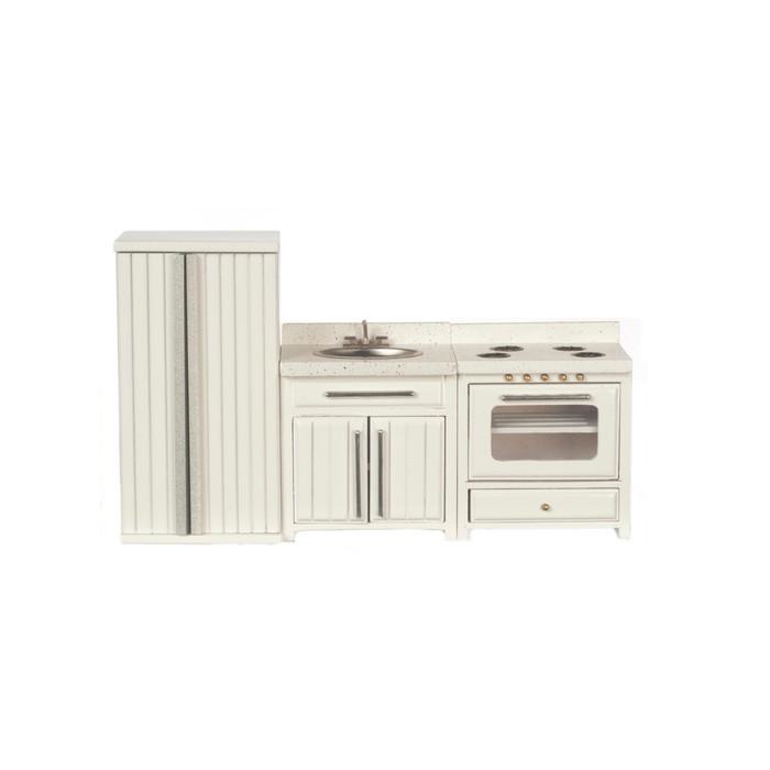 Azt5533 Kitchen Set White 3 Pieces Jeepers Dollhouse Miniatures
