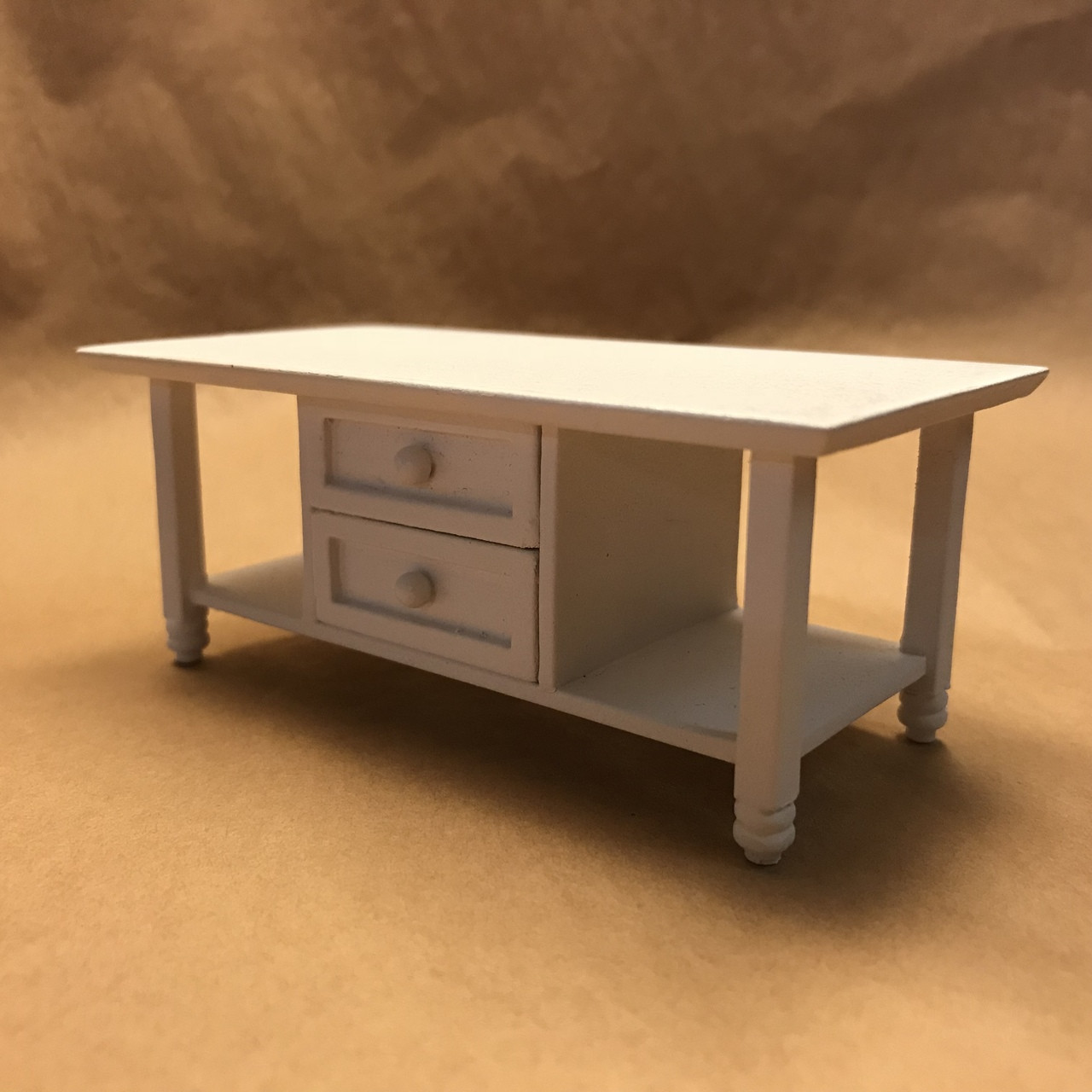 Lla121 Ashley White Coffee Table Jeepers Dollhouse Miniatures