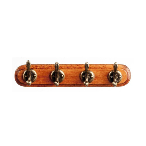 Dollhouse miniature wooden coat rack with antique brass hooks