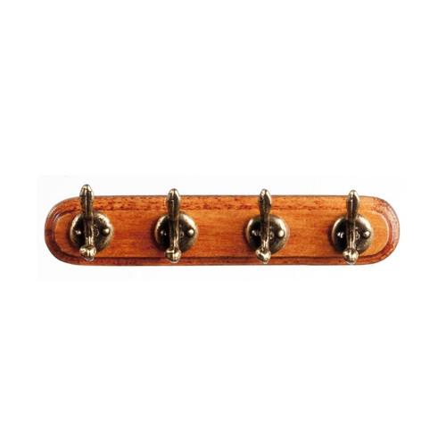 Dollhouse miniature wooden coat rack with antique brass hooks