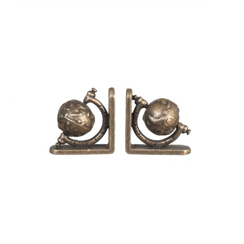 Dollhouse miniature world globe bookend pair