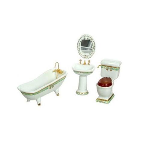 Five-piece dollhouse miniature bathroom