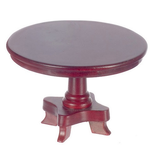 Dollhouse miniature round dining table on pedestal base