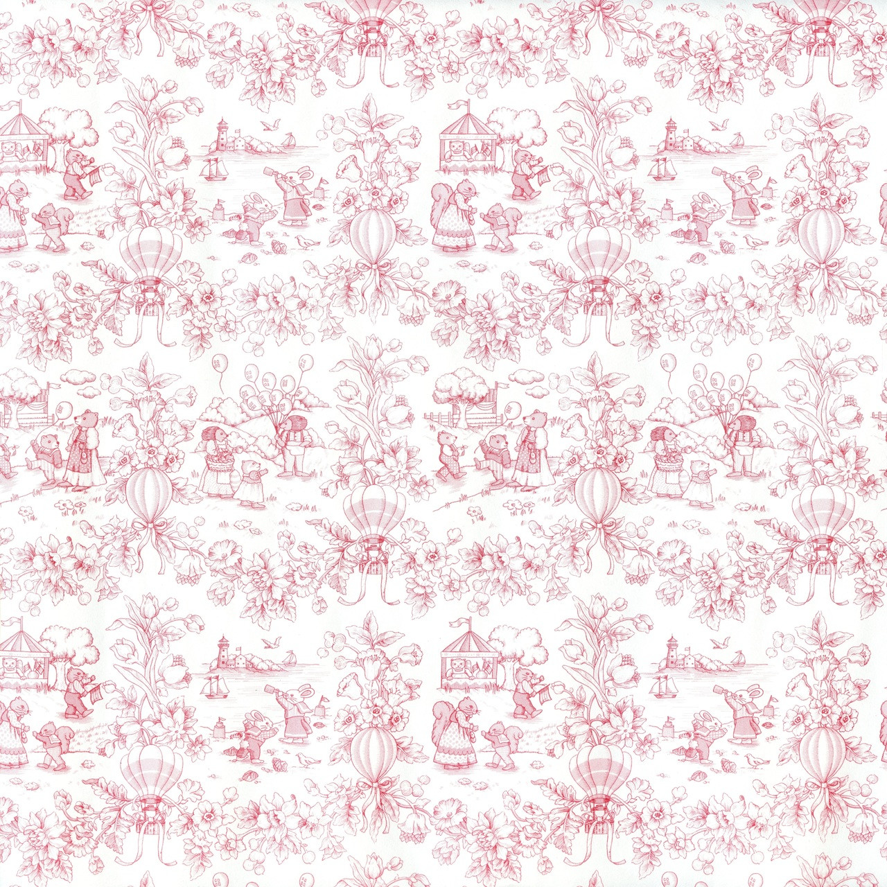 Mg188d24 Wallpaper Playland Toile Pink Jeepers Dollhouse Miniatures