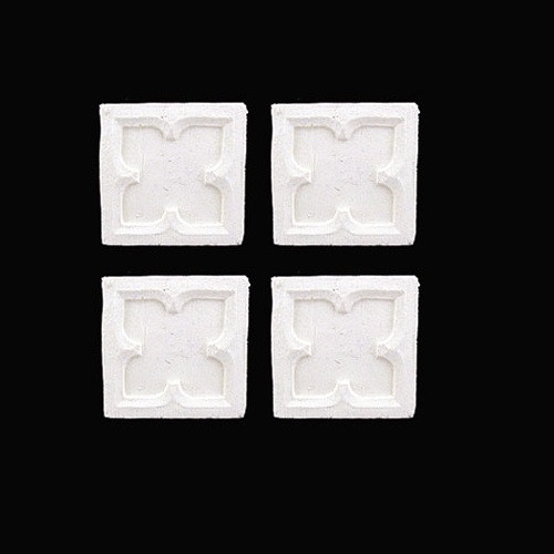 """Four poly-resin 1"""" square appliques for dollhouse miniature"""