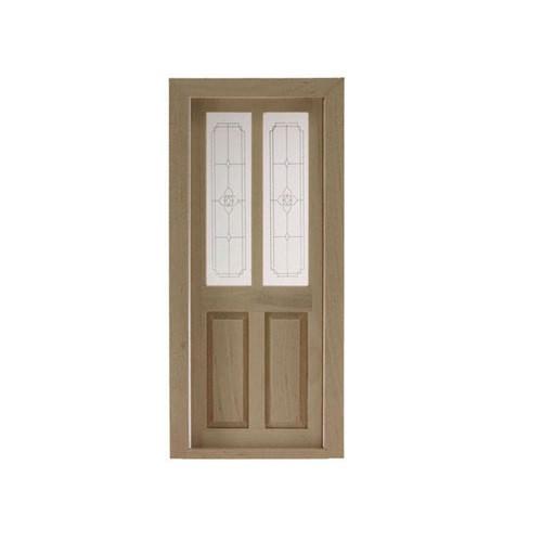 """Split panel door with """"leaded glass"""" upper half"""