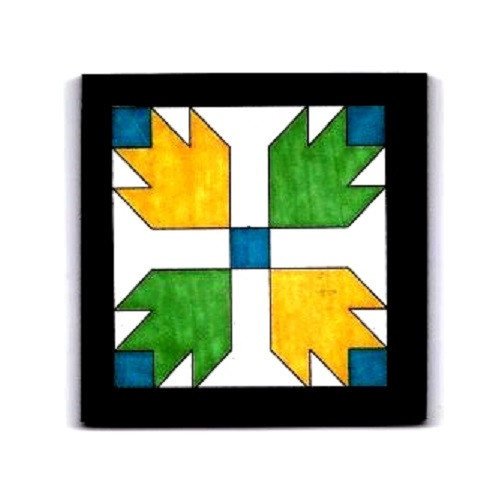 Miniature Turquoise, Green, and Yellow Wooden Barn Quilt