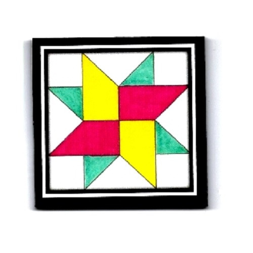 Turquoise, Pink and Yellow Miniature Wooden Barn Quilt