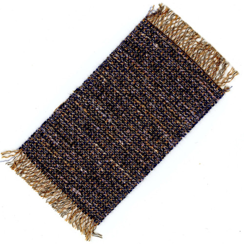 Small dollhouse Rug in Blue, Gold and White Tones