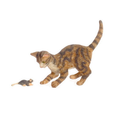 Dollhouse miniature Cat & Mouse, Brown
