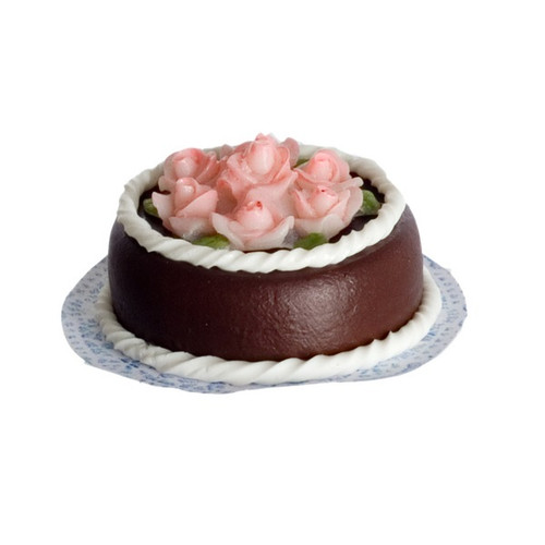 One-inch (1:12) scale dollhouse miniature chocolate cake with roses